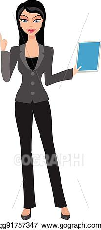 Vector illustration business woman. Accountant clipart female accountant