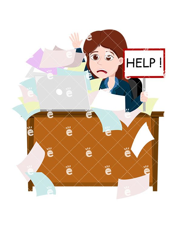 Accountant clipart sad. A female professional drowning