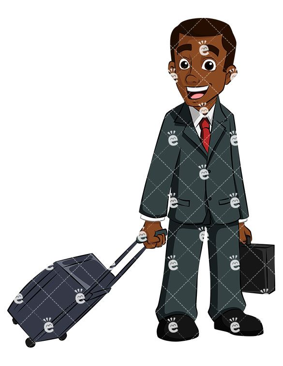 Black business man traveling. Boss clipart sad