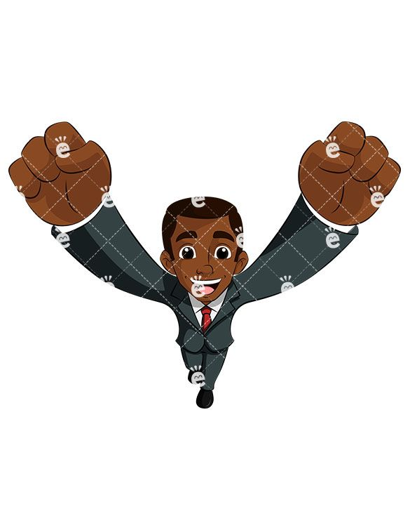 Black business man cheering. Author clipart cartoon