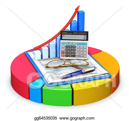 Accounting and statistics concept. Calculator clipart finance