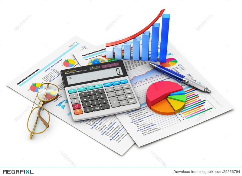 And accounting concept illustration. Calculator clipart finance