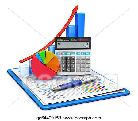 Finance and accounting concept. Statistics clipart financial account