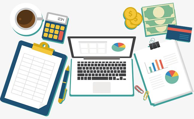 Financial desk vector png. Finance clipart accounting office