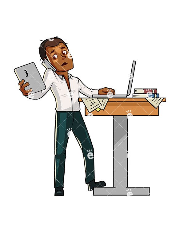 Accounting clipart male accountant. Black man multitasking while