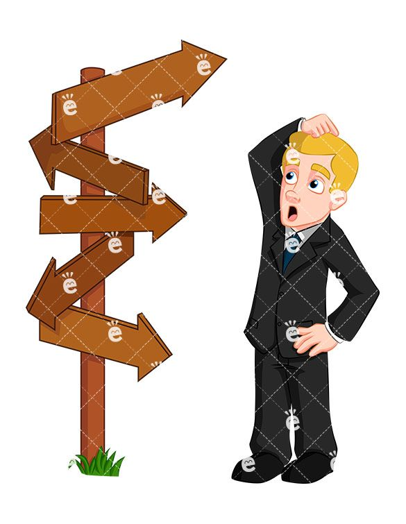 Confused businessman direction signs. Accounting clipart male accountant