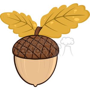 Acorn clipart animated. With oak leaves cartoon