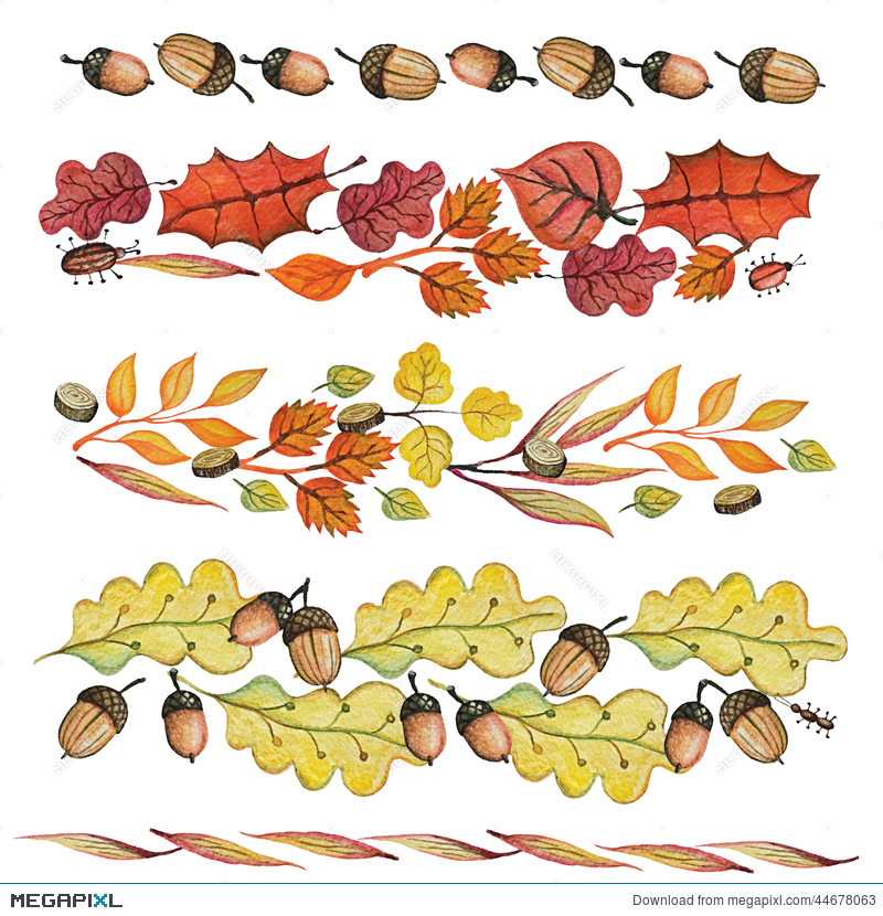 Acorn clipart banner. Watercolor autumn leaves border