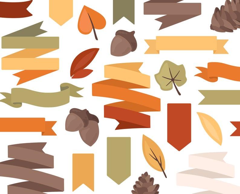 Acorn clipart banner. Autumn fall ribbon pine