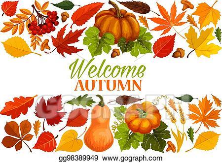 Eps illustration autumn with. Acorn clipart banner