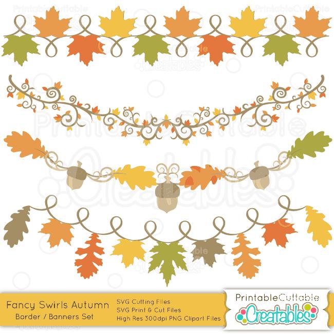 Fancy swirls autumn banners. Acorn clipart banner