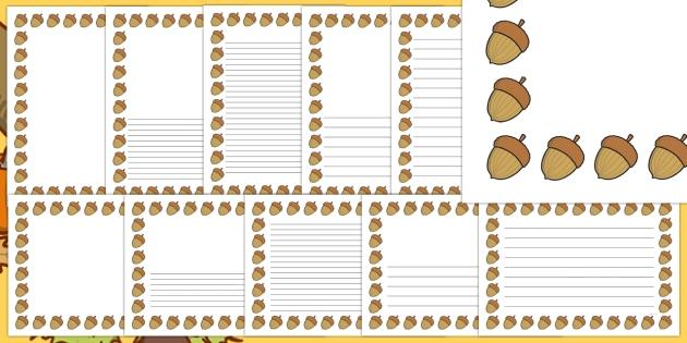 Acorn clipart border. Autumn page pack