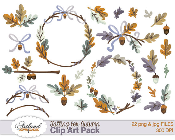 Fall frame borders wreath. Autumn clipart branch