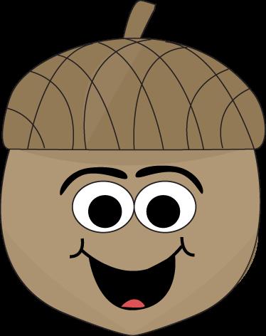 Cartoon clip art image. Acorn clipart brown