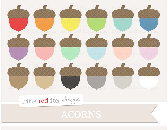 Acorn clipart brown. Illustrations creative market