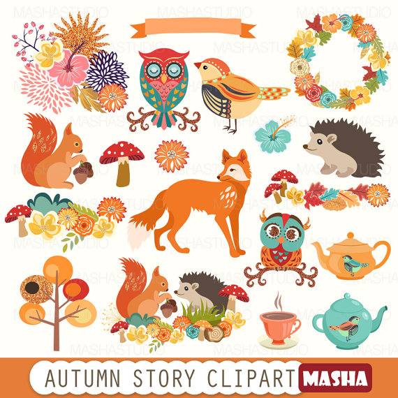 Story with fox . Autumn clipart squirrel