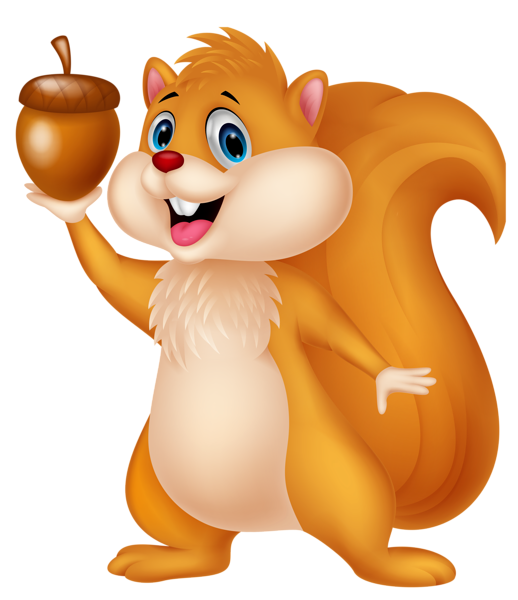Hamster clipart animated. Cute squirrel with acorn