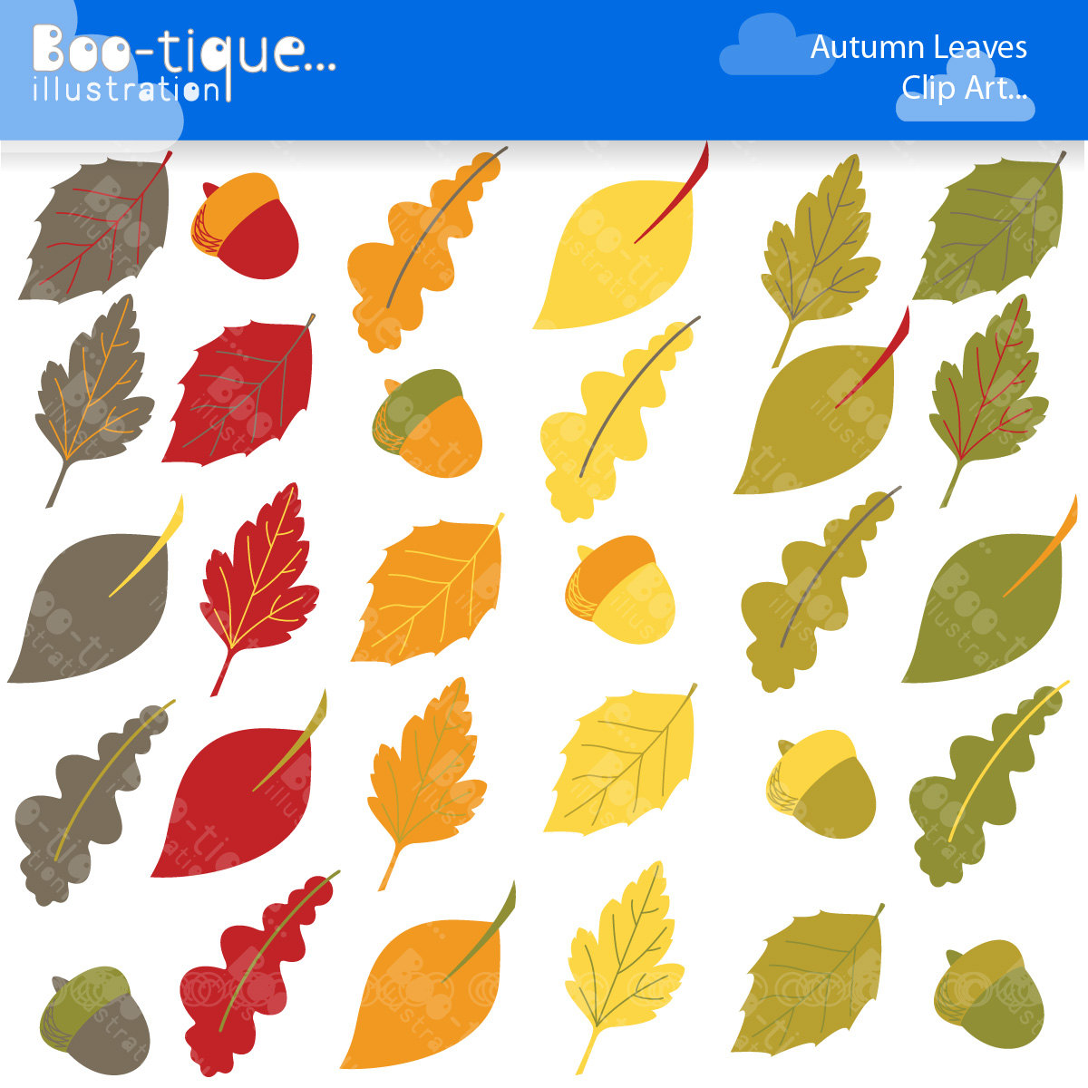 Leaves boo tique illustration. Acorn clipart leaf