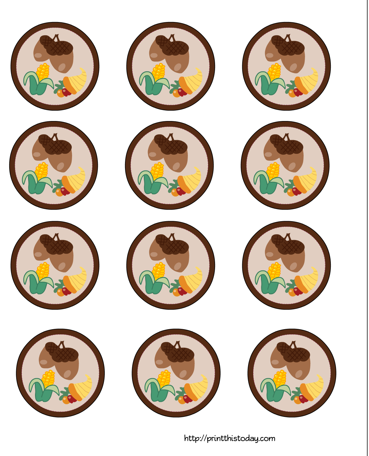 Free thanksgiving cupcake toppers. Acorn clipart printable