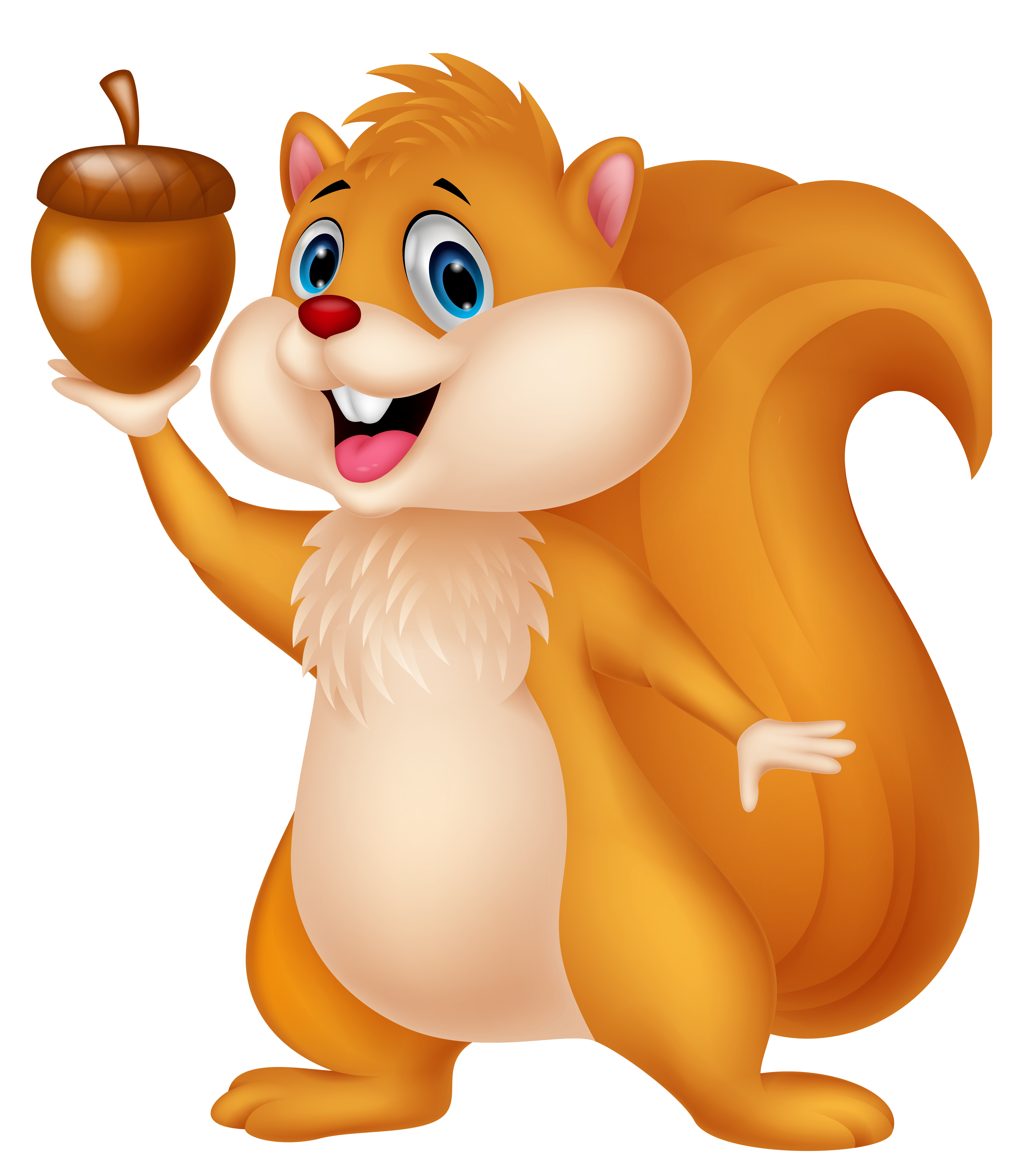 Woodland clipart squirrel. Cute with acorn png