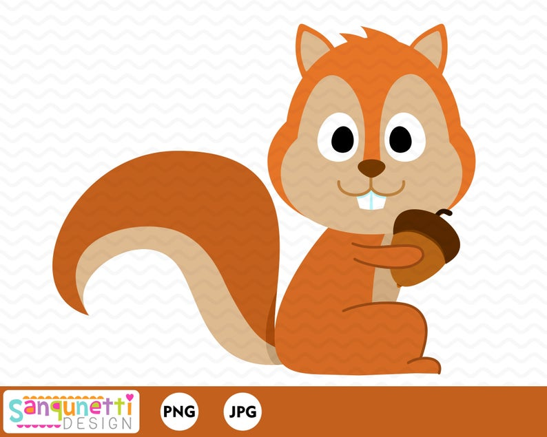 With acorn graphic . Woodland clipart squirrel