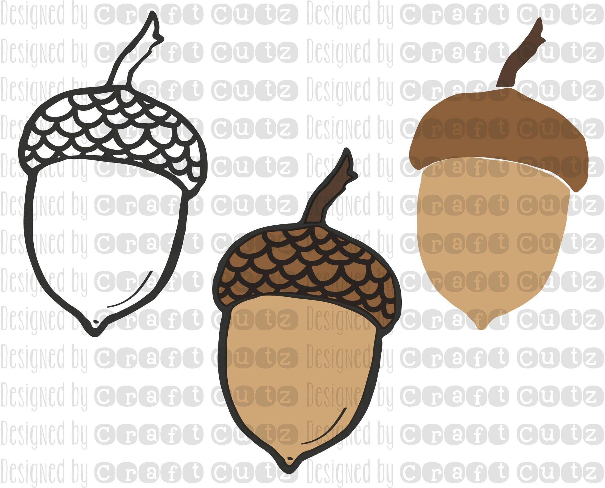 Acorn clipart svg. Digital download fall stencil