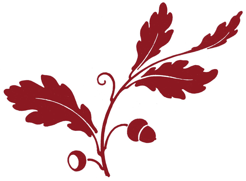Art clipart silhouette. Antique clip oak leaf