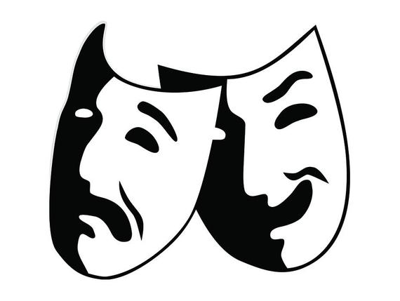Theater mask performance stage. Acting clipart actor actress