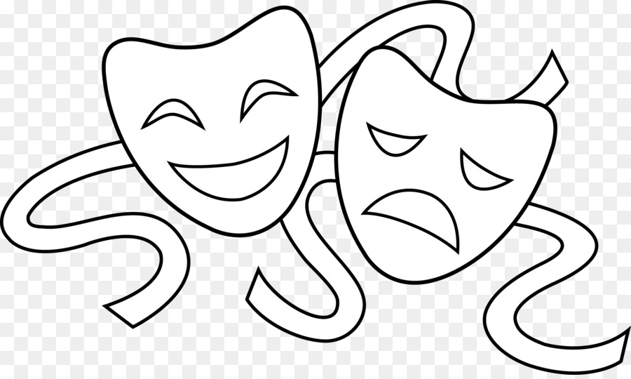Acting clipart black and white. Mask theatre drawing drama