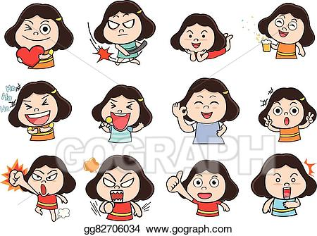 Vector art girl eps. Acting clipart cartoon