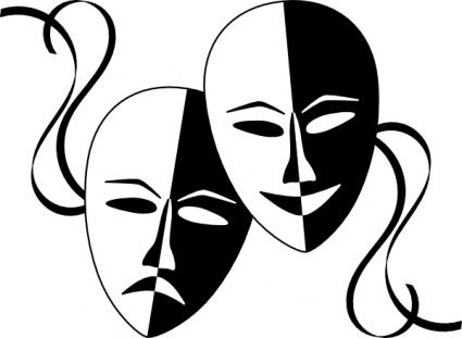 Theater clip art borders. Acting clipart faced