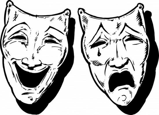 Acting clipart faced. Greek theater masks sad