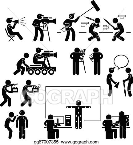 Acting clipart film actor. Vector illustration director making