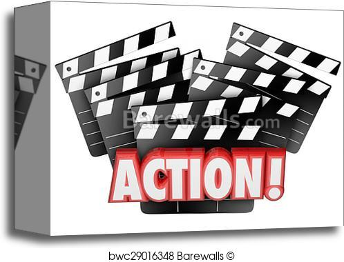 Canvas print of action. Acting clipart film making