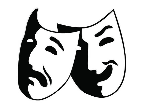 Theater acting actress performance. Actor clipart actor mask