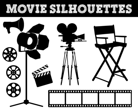 Acting clipart silhouette. Movie film silhouettes camera