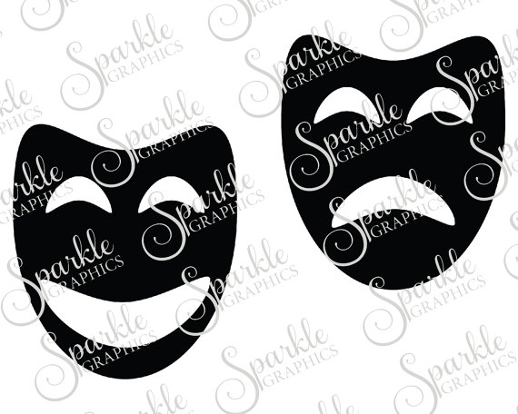 Drama mask cut file. Acting clipart silhouette