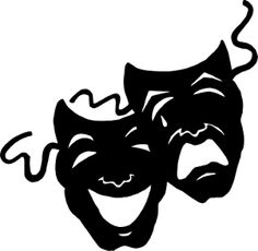 Comedy and tragedy masks. Acting clipart silhouette