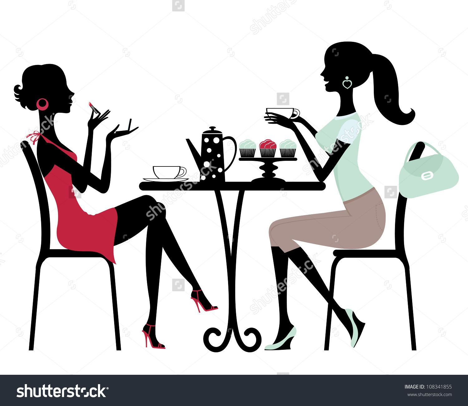 Acting clipart silhouette. Two beautiful women sitting