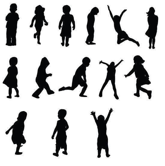 Free kids silhouettes vectors. Acting clipart silhouette