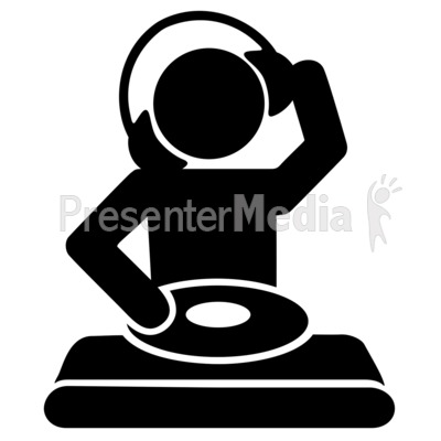 Acting clipart silhouette. Dj mixing record icon