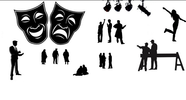Actor pencil and in. Acting clipart silhouette