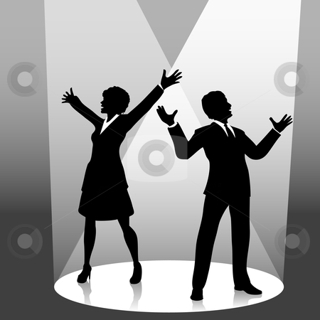 Business person symbol on. Acting clipart silhouette