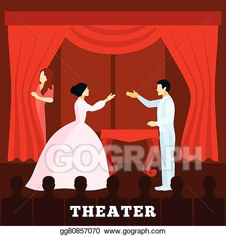 Actor clipart stage clipart. Vector art theatre performance