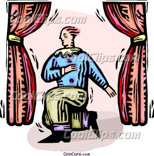 Man acting on stage. Actor clipart act