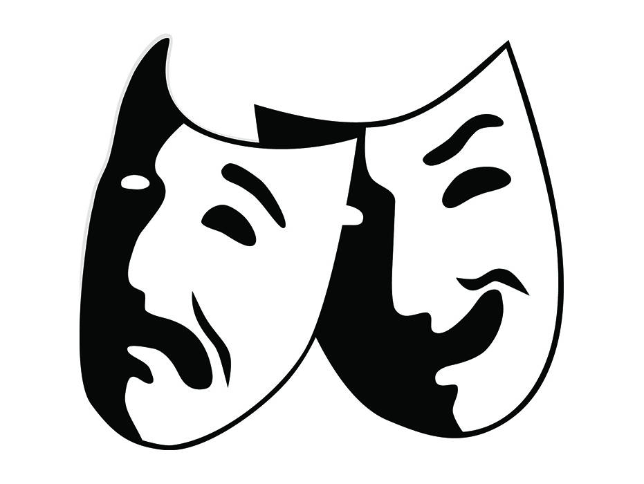 Theater mask actor actress. Acting clipart vector