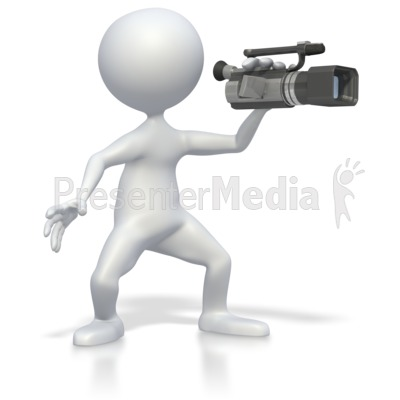Stick figure with camera. Acting clipart video recording