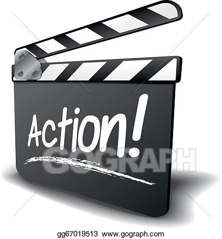 Vector art clapper board. Action clipart