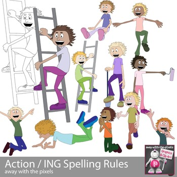 Action clipart. Kids spelling rules ing