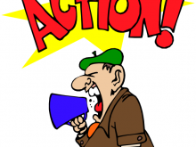 Action clipart. Movie director shout panda
